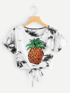 Tie Dye Pineapple Print Knot Hem Tee - Tie Dye Pineapple Print Knot Hem TeeFor Women-romwe Source by giulianabaccante - Cute Lazy Outfits, Crop Top Outfits, Kids Outfits Girls, Girls Fashion Clothes, Teenager Outfits, Teen Fashion Outfits, Stylish Outfits, Girl Fashion, Tween Mode