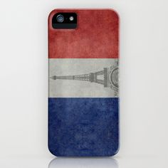 Distressed National Flag of France with Eiffel Tower insert iPhone & iPod Case