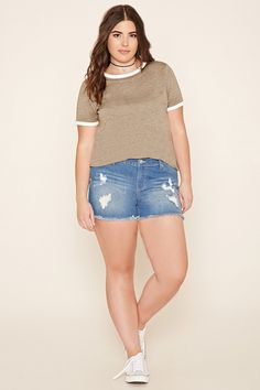 Forever 21+ - A burnout knit ringer tee featuring contrast trim at the round neckline and short sleeves.