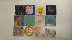 4 inch tiles (coasters) painted at The Painted Turtle Pottery Studio with various techniques (left to right): Sgraffito, Picasso self portrait,  emoji,  Colour layering with design block,  crackle,  bubble blowing,  silk screen,  rubber stamping,  pointalism,  paint swirl,  smudging and Zen tangle