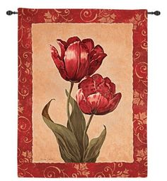 Red Tulip Botanical Wall Tapestry