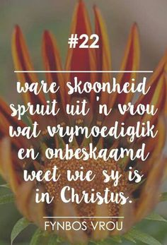 Ware skoonheid  __[Fynbos Vrou/FB] # 22 #Afrikaans #self Words Quotes, Me Quotes, Qoutes, Sayings, Afrikaanse Quotes, Virtuous Woman, Christian Prayers, Godly Marriage, God First