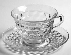 "Fostoria ""American/Early American"" Pattern Cup and Saucer Set in Clear (1915-1982)"
