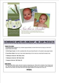 Homemade Arbonne Baby WIpes! http://lesliemd.myarbonne.com  Consultant # 13529427