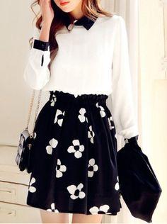 Refreshing Style Flat Collar Floral Print Slimming Long Sleeve Women's Dress