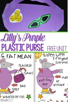 Lilly's Purple Plastic Purse lesson plans ideas for kindergarten and first grade. Students respond to the book during reading and interactive writing. Predicting, character analysis and more! Fun week of activities for your Kevin Henkes author study! Kindergarten Lesson Plans, Kindergarten Reading, Kindergarten Classroom, Kindergarten Activities, Book Activities, Sequencing Activities, Preschool, Science Videos For Kids, Back To School Bulletin Boards