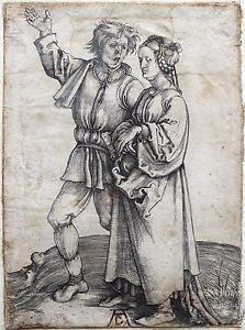ALBRECHT-DURER-1471-1528-ORIGINAL-1497-ENGRAVING-PEASANT-HIS-WIFE-VERY-RARE