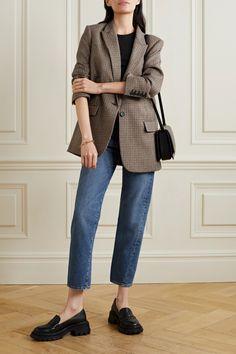 Brown Diane houndstooth wool-blend blazer | NILI LOTAN | NET-A-PORTER