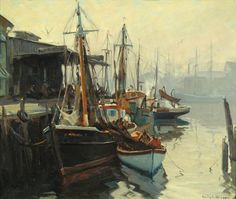 "''Busy Harbor, East Gloucester, Mass.'' Emile Albert Gruppe, oil on canvas, 30 x 36"", private collection."