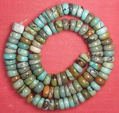 "8.5 mm Diameter Real Turquoise Rough Cut Rondelle Beads 16"" Strand Lot R90"