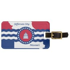 Flag of Jefferson city Missouri Bag Tag - white gifts elegant diy gift ideas