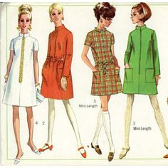 1960's fashion... These will inspire my first dress project on my machine