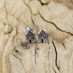 Art Clay studs in shape of houses. by Jamilka on Etsy, zł60.00