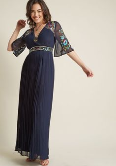 Glowing Persona Maxi Dress - The room is noticeably brighter when you're around - could it be your presence, or the beads and sequins of this navy maxi dress? We venture to guess it's both! A stunning number for opulent moments, this chiffon gown does your shining self justice with its sheer sleeves, floral embroidery, and all-over pleats.