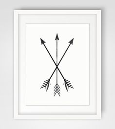 Arrow Print, Black and White, Tribal Crossed Arrows Art - Instant Download - Home Decor, Modern Printable Wall Art - Multiple Sizes