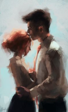 "James and Lily by ipaintjily (Pokieart) - After talking about their future ""I want you there."" ""I will be."""
