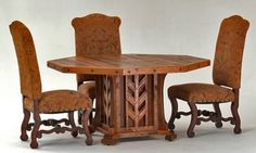 Dining Table - Copper Base w Chairs by Woodland Creek Furniture.