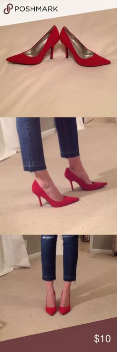 Red suede pumps! 👠 Guess sexy red suede pumps! Thin stiletto heel. Pointed toe. Used condition. There is some scuffing along the interior of both heels (included in last photo). True size 8.                          **** if you like the jeans I'm wearing check out the listing in my closet! ***** Guess Shoes Heels