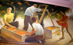 Fullerton Post Office Mural 3 of 3  ~  Painted in 1933 by Paul Julian, commissioned by the WPA. Shows life in Fullerton in the 1930's.
