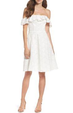 Tadashi shoji Lace Off-the-shoulder Dress in Multicolor - Save 68 94b4711fe