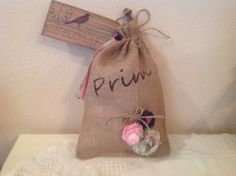 Burlap Bag Shelf Setter Prim Decor Housewarming by CraftsByJoyice