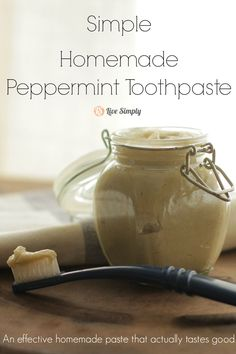 Homemade peppermint toothpaste that cleans teeth and actually tastes good!