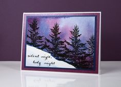 Stamps: woodland beauty, yuletide wishes, joy filled Inks: versafine onyx black (Tsukineko), chipped sapphire and seedless preserves DISTRESS STAINS (Ranger) Paper: hot pressed watercolour papers (Fabriano), blue and plum shimmer cardstock Also: masking fluid | Heather Telford (wc4, xmas3)