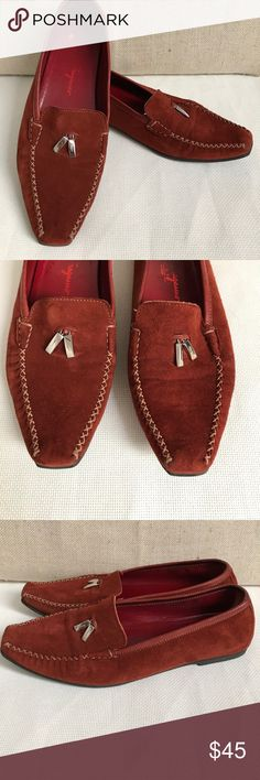Salvatore Ferragamo rust brown suede loafers 9.5C Great condition, only a few cosmetic scratches inside Ferragamo Shoes Flats & Loafers