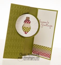 Old Olive Cardstock and Cherry Cobbler inkpad; Champagne Glimmer paper; Season of Style Washi tape; Argyle and Print Poetry TIEFs; Holiday Ornaments Framelit, More Merry Messages stamp set