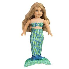 Amazon.com: Fin Fun Mermaid Tail Outfit for 18 Inch Doll like American Girl - Zoey's Aussie Green - Outfit Only, Doll Not Included: Toys & Games