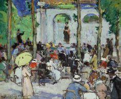 john maclauchlan milne(1886–1957), concert, jardin des tuileries, 1921. oil on board, 38.1 x 45.7 cm. perth & kinross council, uk http://www.bbc.co.uk/arts/yourpaintings/paintings/concert-jardin-des-tuileries--129656