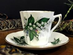 Lily of The Valley Teacup, Royal Dover Tea Cup and Saucer, Made in England -K