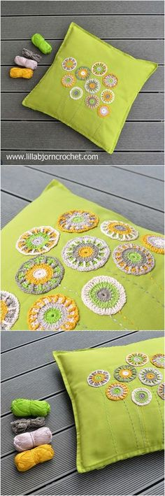 Dandelion Garden pillow. Use these small, cute and easy to make overlay crochet ornaments to decorate your old pillowcase. Free pattern by @lillabjorncrochet