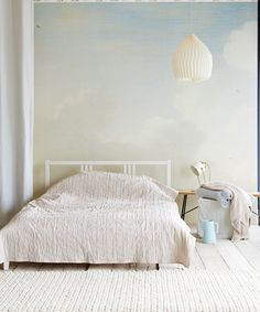 Eijffinger Masterpiece Dutch Sky Stripes Bleu 358120 at Wallpaperwebstore Dream Bedroom, Home Bedroom, Master Bedroom, Bedroom Decor, Bedrooms, Interior Walls, Home Interior, Interior And Exterior, Ideas Hogar