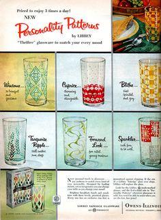A vintage 1957 Owens Illinois glassware print advertisement Retro Ads, Vintage Advertisements, Vintage Ads, Vintage Prints, Vintage Items, Vintage Kitchenware, Vintage Dishes, Vintage Glassware, Libby Glassware
