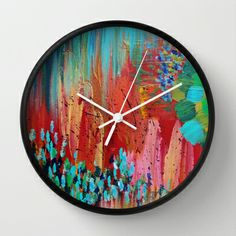 REVISIONED RETRO - Bright Bold Crimson Cherry Poppy Fire Engine Intense Red, hunter Green, Turquoise Blue, Forest Green, Pink Peach Abstract Acrylic Colorful Painting 70s Vintage Style Hip 2014 Modern Home Decor Mid Century mod Retro Style Cool Awesome Vibrant Wall Clock by EbiEmporium - $30.00