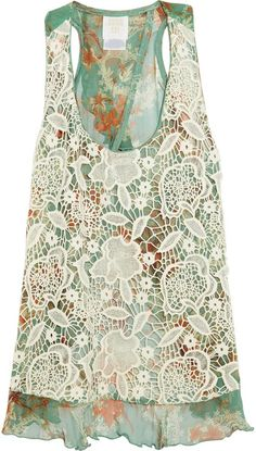 ANNA SUI greens and coral floral with a cream lace overlayer top. Sleeveless tank with cutout back.