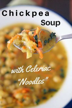 Vegan Chickpea Noodle Soup with Spiralized Celeriac and carrots | HealthySlowCooking.com