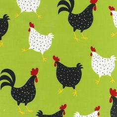 """45"""" Wide, 100% cotton, """"Metro Market"""" by Ellen Krans - 3 1/2"""" large chickens & roosters on lime background."""