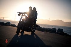 Motorcycle, Lovestory, Couple, Sunset, Route 66, Golden Gate Bridge, California. It's that summer love kind of romance on the back of a Harley-Davidson. www.DougBirnbaum.com