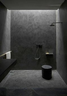 Dark concrete shower - easy clean (no grout). Also could be dark alcove as bathroom feature. Not sure what would work for rest of the floor?