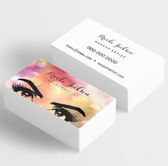 Makeup artist business card eyes eyelashes all white carto de visita cheaphphosting