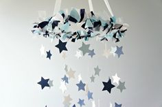 Star Mobile- Navy, Baby Blue, & White**PLEASE NOTE: All mobiles are MADE TO ORDER. Please see shop homepage announcement for current make time**This elegant star mobile will make the perfect addition . Star Mobile, Mobiles, Deco Kids, Garden Nursery, Nursery Room, Nursery Ideas, Baby Room, Room Ideas, Diy Bebe