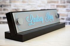 The Office Nameplate – A true mark of the business professional. These personalized office name signs are made with a high gloss finish and durable