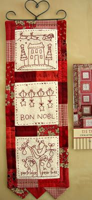 A Sampler of Stitches - Love the prarie points on the bottom :) Christmas Embroidery Patterns, Embroidery Monogram, Hand Embroidery Designs, Embroidery Ideas, Small Quilts, Mini Quilts, Cross Stitching, Cross Stitch Embroidery, Folk Embroidery