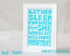 Going Away to College Dorm Decor Women Let Her Sleep Gift Set Card and Print, Typography, Mothers Day, Mom