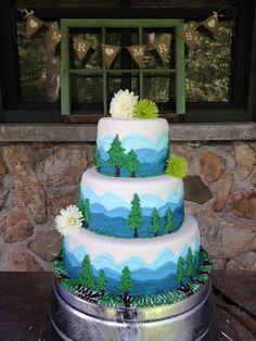 Smokey Mountain wedding cake 30 Birthday Cake, Jesus Birthday, Happy Birthday, Yummy Treats, Sweet Treats, Mountain Cake, Smokey Mountain, Just Cakes, Specialty Cakes