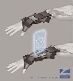 Design Foundations for Games & Film 2015 Robot Concept Art, Weapon Concept Art, Armor Concept, Robot Art, Anime Weapons, Sci Fi Weapons, Fantasy Weapons, Futuristic Technology, Technology Gadgets