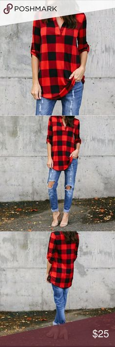 Lightweight XL length red buffalo plaid tunic nip Red and black buffalo plaid Super lightweight 3/4 length sleeves *****XL PLEASE LOOK AT SIZING CHART AS THIS RUNS SMALL Tops Tunics
