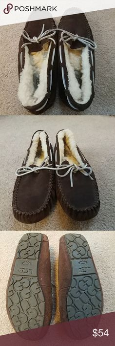 Brown UGG Dakota Moccasins Slightly used with minor flaws but still in overall great condition UGGs. Fur is fluffy throughout and always worn with socks. Has been waterproofed with ugg product. UGG Shoes Moccasins
